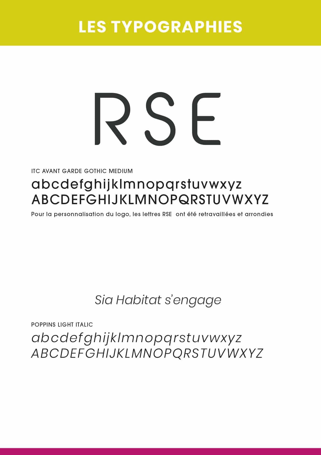 typographie : charte graphique logo RSE - SIA Habitat